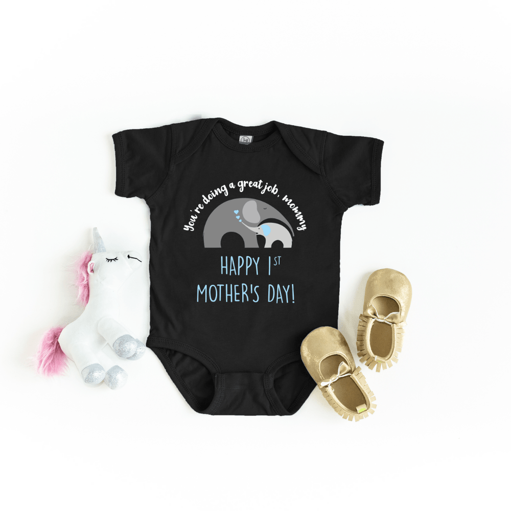 Our First Mother's Day baby bodysuit, Cute Personalized Mother's Day baby bodysuit, Elephant Baby Mother baby bodysuit, Happy Mothers Day baby bodysuit, Best Mama shirt, Black