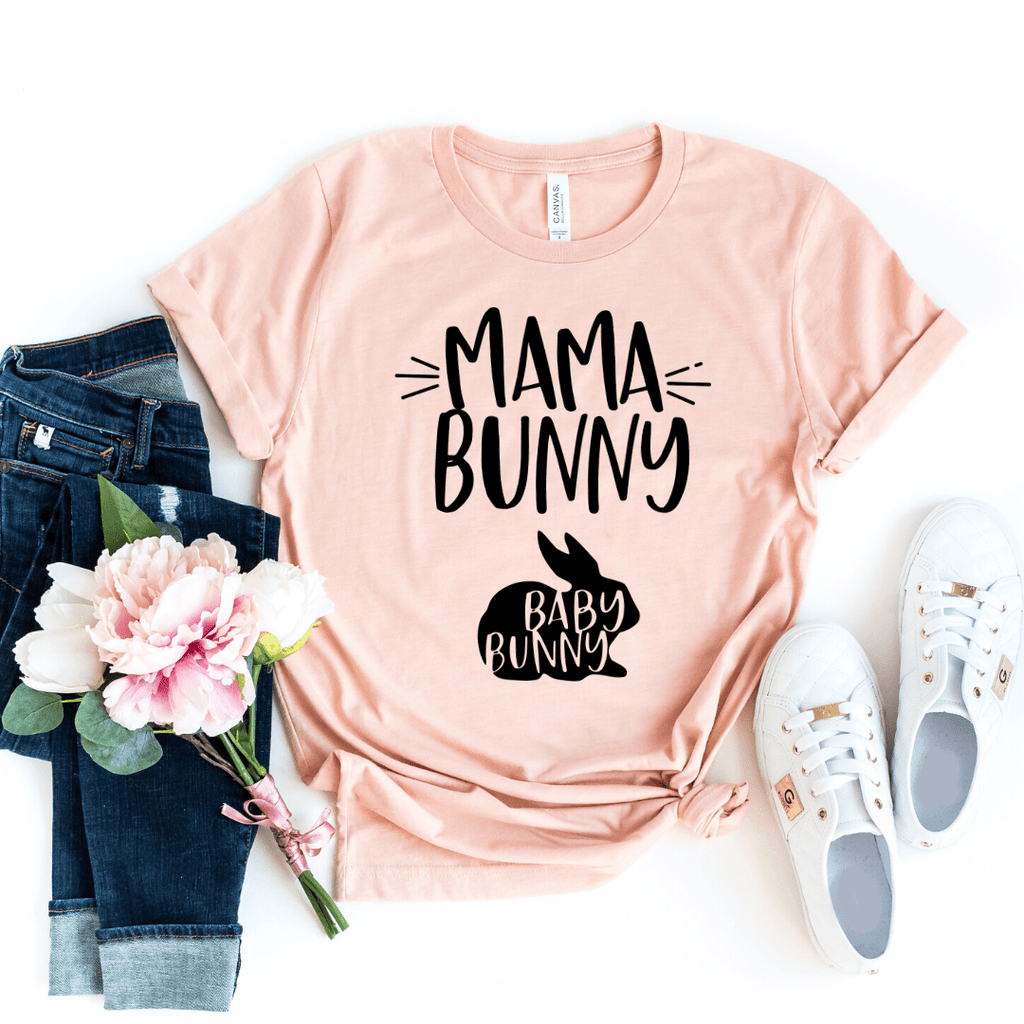 Mama Bunny and Baby Bunny Funny Easter Pregnancy Shirt, Mom to be, Pregnancy Unisex Baby Shower Gift, Pregnancy and Mommy to be Outfit, Heather Peach