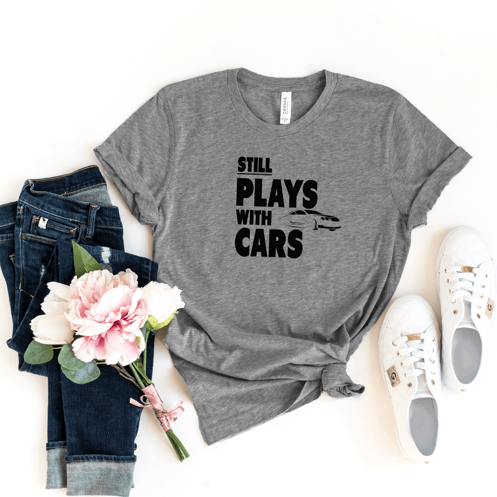Plays With Cars Still Plays With Cars Shirt Father Dad Baby Shirt Set Daddy and Me Matching Shirts Dad and Son Cars Matching T-shirts, Deep Heather