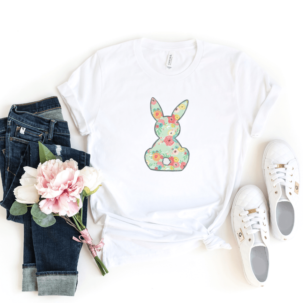 Floral Bunny Matching Shirt Set, Mommy And Me Shirt Set, Easter Shirt, Bunny Shirt, Spring, Mommy and Me, Easter Outfit
