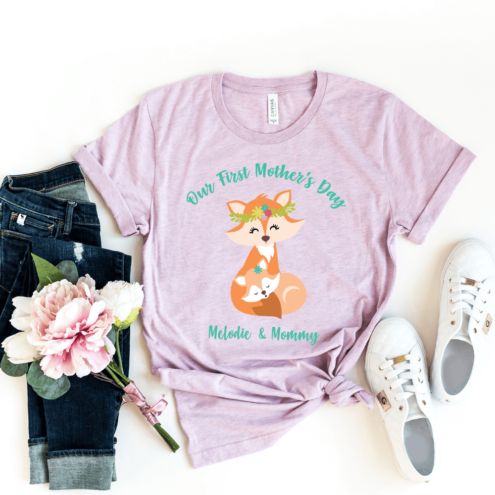 Our First Mothers Day Fox Personalized Bodysuit, first mothers day outfit baby girl, mothers day shirt for mom and daughters Fox Mothers Day Shirt, Heather Prism Lilac