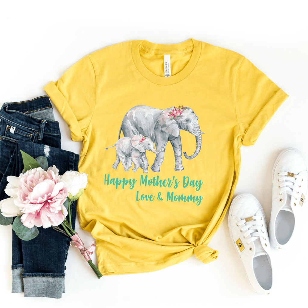 Our First Mothers Day Shirts, Mommy & Me T-Shirts, Matching Mom and Baby Bodysuit, Mother Day Shirt, Baby and Mama Elephant, Mommy and Me Shirt Set Mama Elephant Baby Shirts Mother and Daughter Shirts,  Mothers Day Gift Mommy and Me Outfits, Heather Mustard