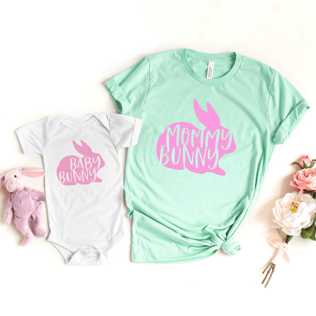 Mama Bunny, Baby Bunny, Mommy And Me Shirt Set, Easter Mommy and Me Shirts, Bunny Shirt, Spring, Easter Outfit, Family Matching Easter Shirt