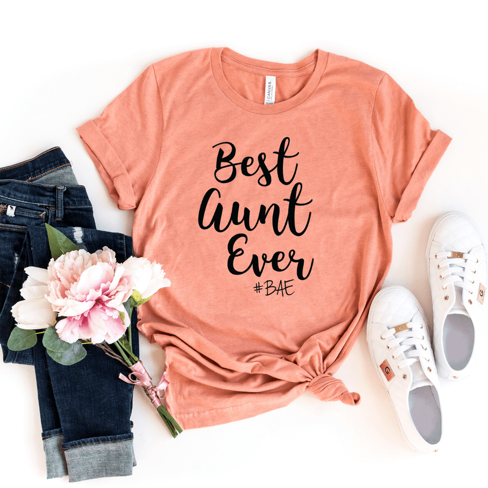 BAE Best Aunt Ever Shirt, Aunt Shirt, New Aunt, Christmas Gift for Aunt, Auntie, Aunt To Be Shirt, Favorite Aunt, Like a Mom Only Cooler, Heather Prism Sunset