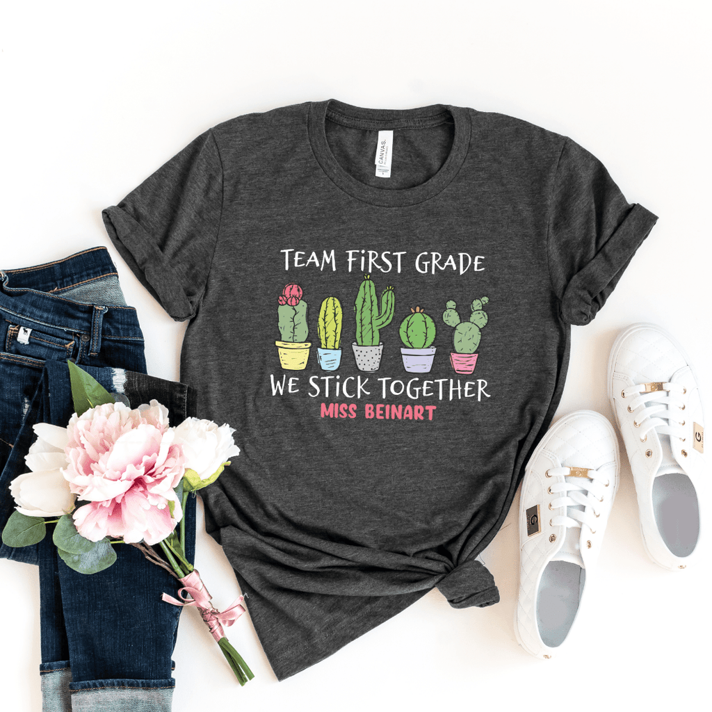 cactus team teacher shirts, first grade team shirts, kindergarten team shirts for teachers, stick together cactus shirt teachers gift, Dark Grey Heather
