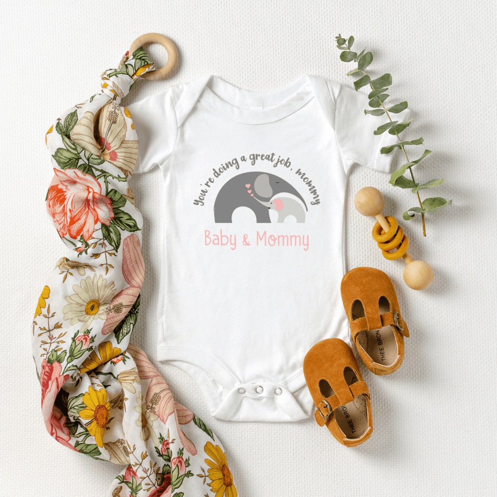 Mommy and Me outfits Mama Baby Cute Shirt Mother's Day Shirt bodysuit Boho Elephant Baby Shirt for Mom and Girl Best Mama shirt, White