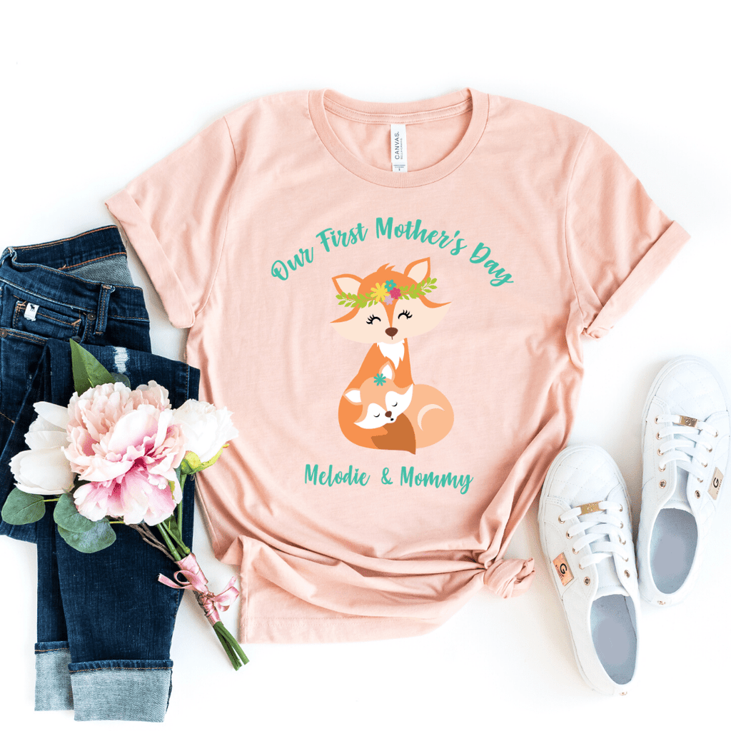 Our First Mothers Day Fox Personalized Bodysuit, first mothers day outfit baby girl, mothers day shirt for mom and daughters Fox Mothers Day Shirt, Heather Peach