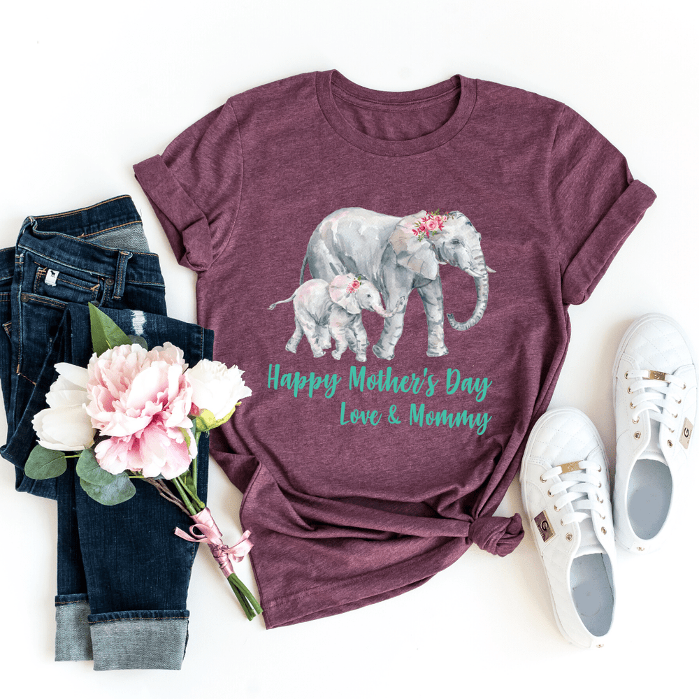 Our First Mothers Day Shirts, Mommy & Me T-Shirts, Matching Mom and Baby Bodysuit, Mother Day Shirt, Baby and Mama Elephant, Mommy and Me Shirt Set Mama Elephant Baby Shirts Mother and Daughter Shirts,  Mothers Day Gift Mommy and Me Outfits, Heather Maroon