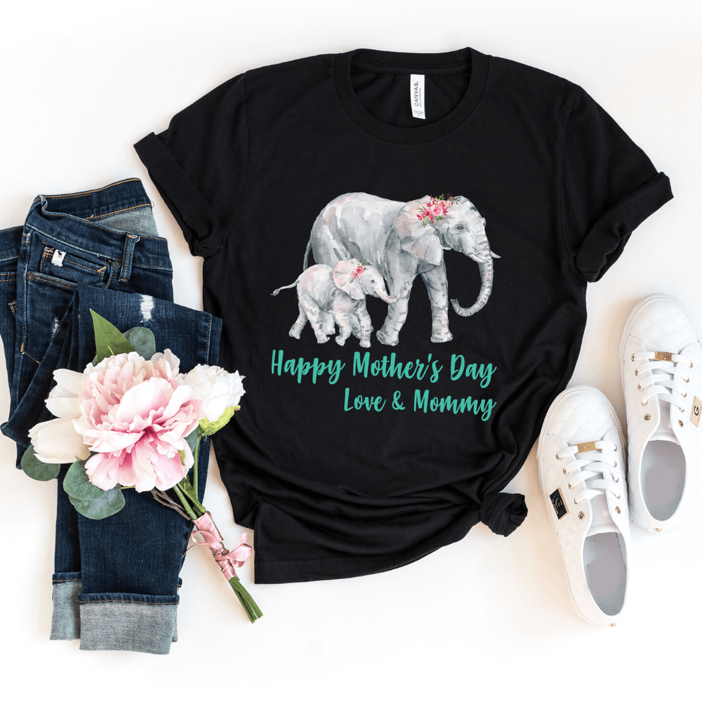 Our First Mothers Day Shirts Matching Mom and Baby Bodysuit, Mother Day Shirt, Baby and Mama Elephant Mommy and Me Shirt Set Mama Elephant Baby