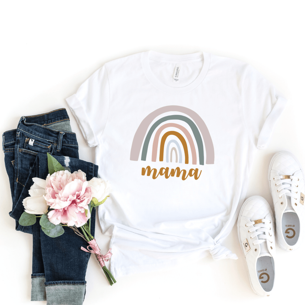Rainbow Mommy and Me Shirt Rainbow Baby Bodysuit Mama Shirt Rainbow Mom Shirt Neutral Rainbow Tee Mother's Day Shirt Gift, White