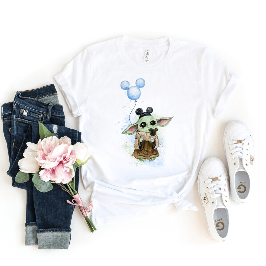 Disney Shirts Star Wars Mandalorian Child, Baby Yoda, Galaxy Edge Shirt, Boba Fett shirt, White