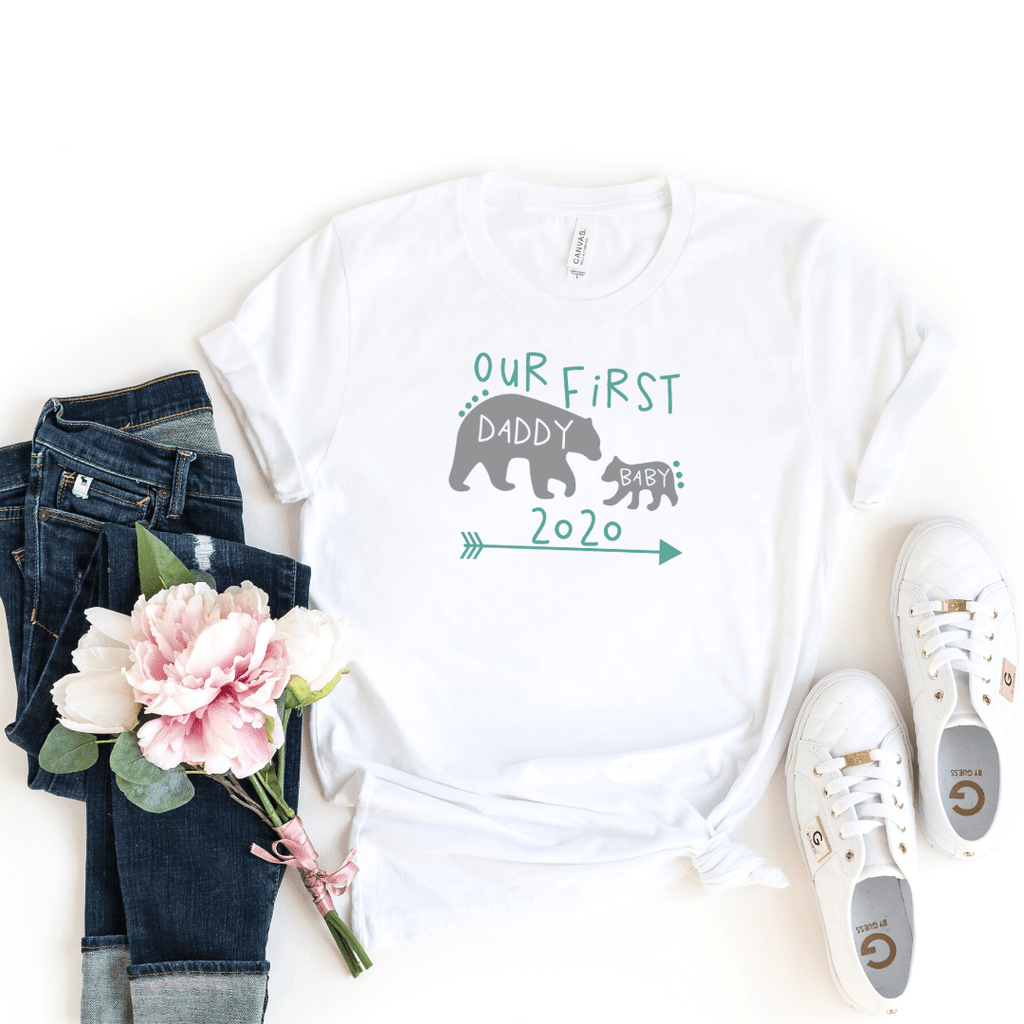 Daddy and Me Shirts Matching Dad Shirts Father Son Shirts Fathers Day Shirts Our First Father's Day Shirts Baby Bodysuit Daddy Baby Bear Shirt, White