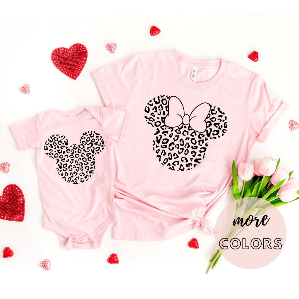 Disney Black Print Leopard, Disney Family Shirt, Minnie Shirt, Cheetah Minnie Mickey Shirt, Animal Kingdom shirt, Safari Shirt, Disney women's shirt, Disney Style Shirt, Pink