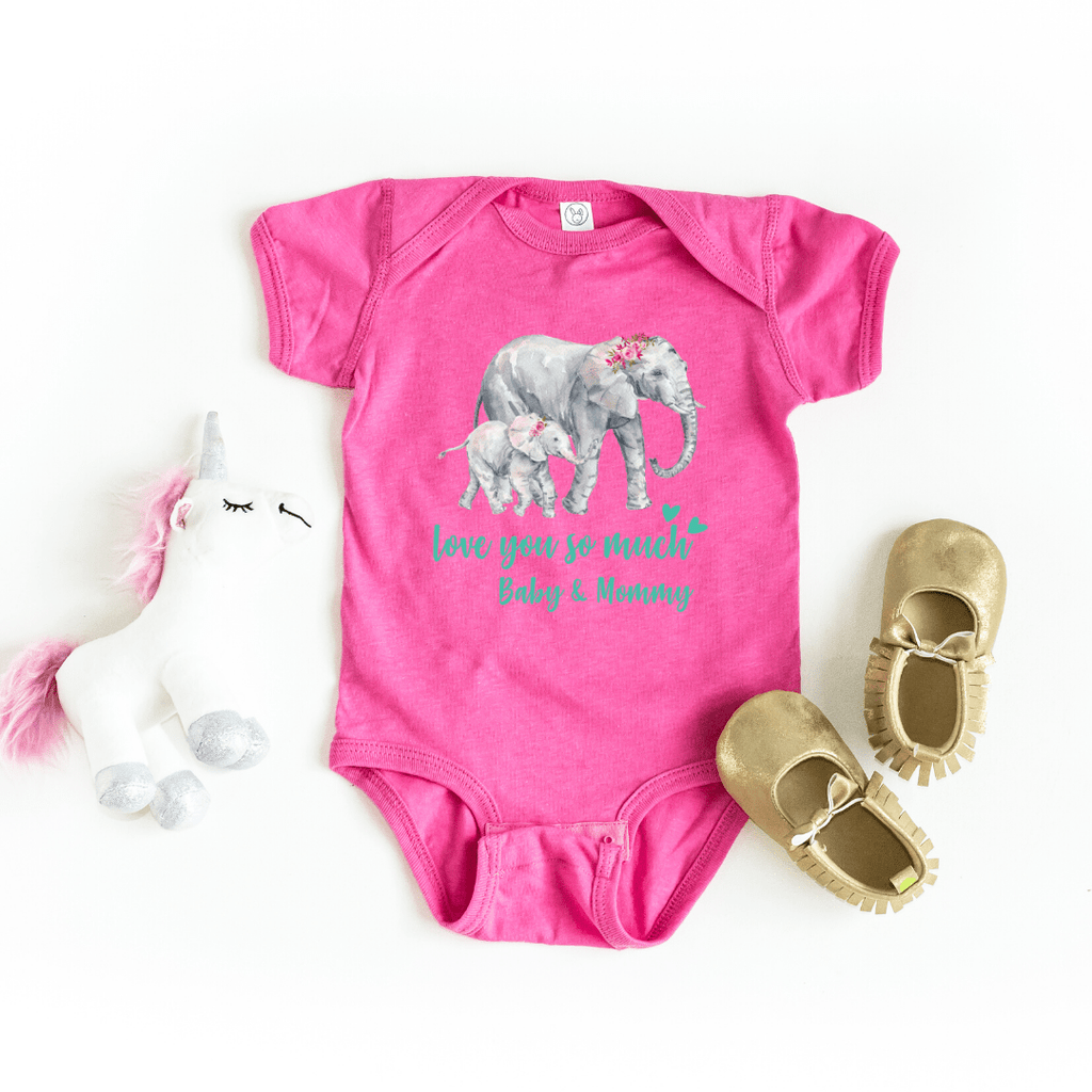 Mommy and Me outfits Shirt Set Mama Elephant Baby Shirts Mother and Daughter Shirts Mothers Day Shirts Mothers Day shirt for mom, Raspberry