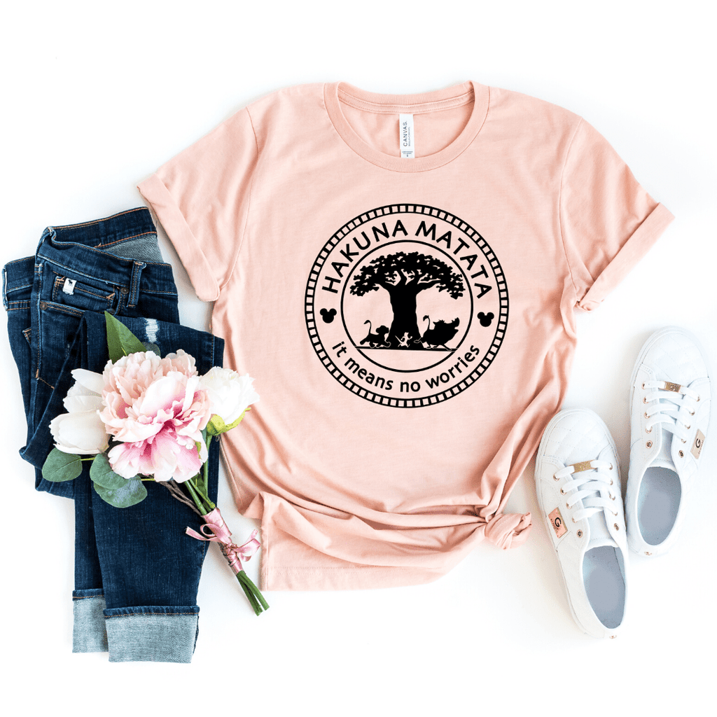 Animal Kingdom, Disney Hakuna Matata Tree of Life Shirt, Lion King Shirts, Unisex Disney Shirts, Disney Family Shirt, Heather Peach
