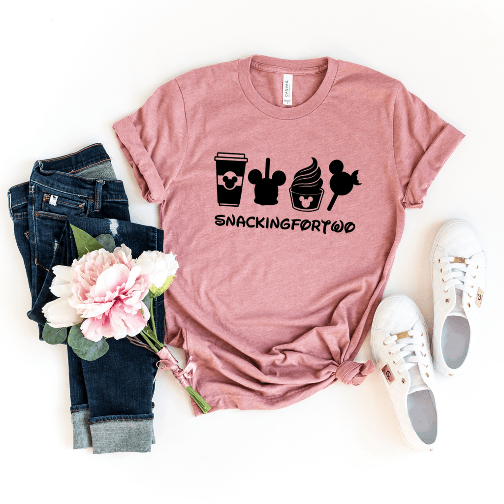 Snacking For Two, Shirt,Snack Goals, Disney Shirts, Disney Shirt, Disney World, Disneyland,Disney Vacation,Disney Shirts For Women,Mickey Mouse, Heather Mauve