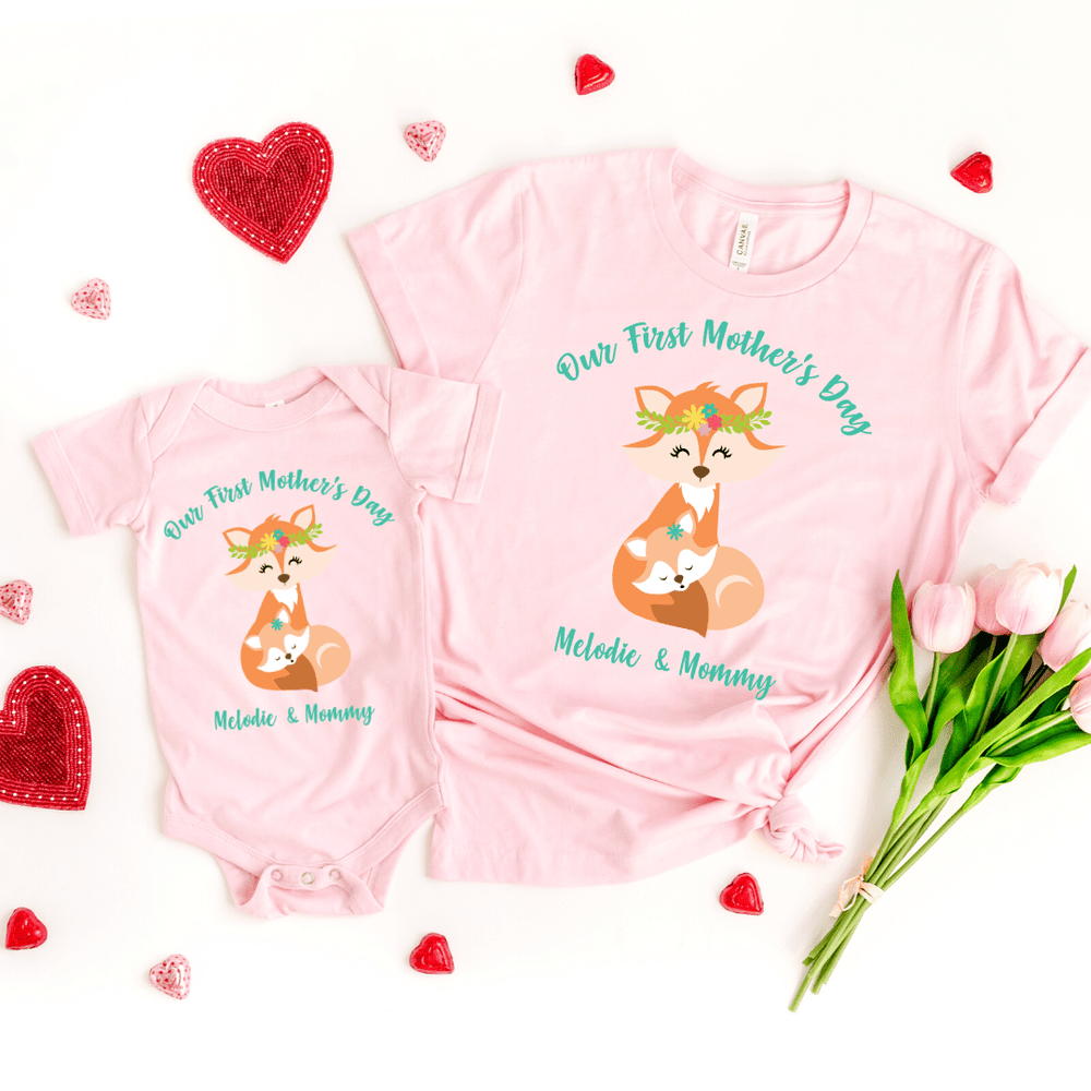 Our First Mothers Day Fox Personalized Bodysuit, first mothers day outfit baby girl, mothers day shirt for mom and daughters Fox Mothers Day Shirt, Pink