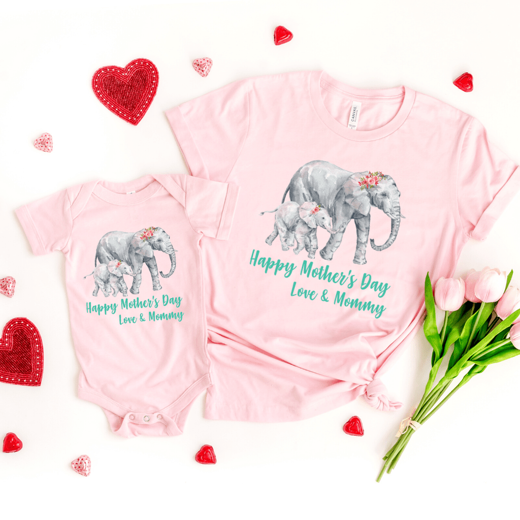 Our First Mothers Day Shirts, Mommy & Me T-Shirts, Matching Mom and Baby Bodysuit, Mother Day Shirt, Baby and Mama Elephant, Mommy and Me Shirt Set Mama Elephant Baby Shirts Mother and Daughter Shirts,  Mothers Day Gift Mommy and Me Outfits, Pink