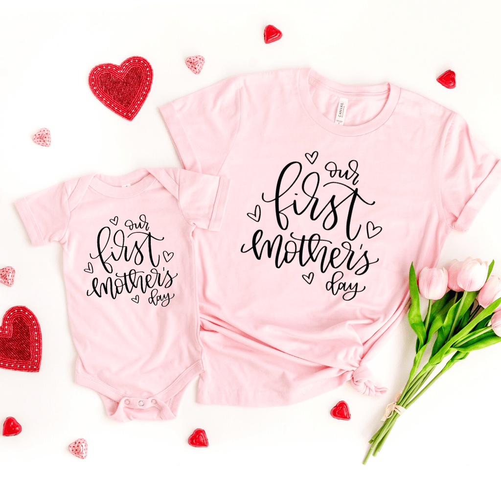 Mother's day gift for wife Mom, Our first mothers day, First mothers day gift, matching mom and baby, family shirts, Mothers day 2020, Pink