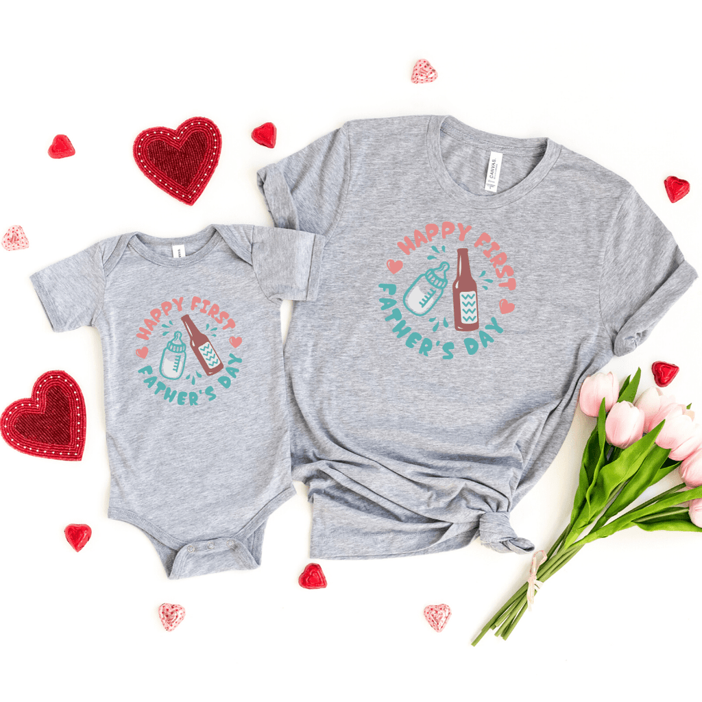 Daddy and Me Shirts Matching Dad Shirts Father Son Shirts Fathers Day Shirts Our First Father's Day Shirts Baby Bodysuit First Fathers Day Tees, Athletic Heather