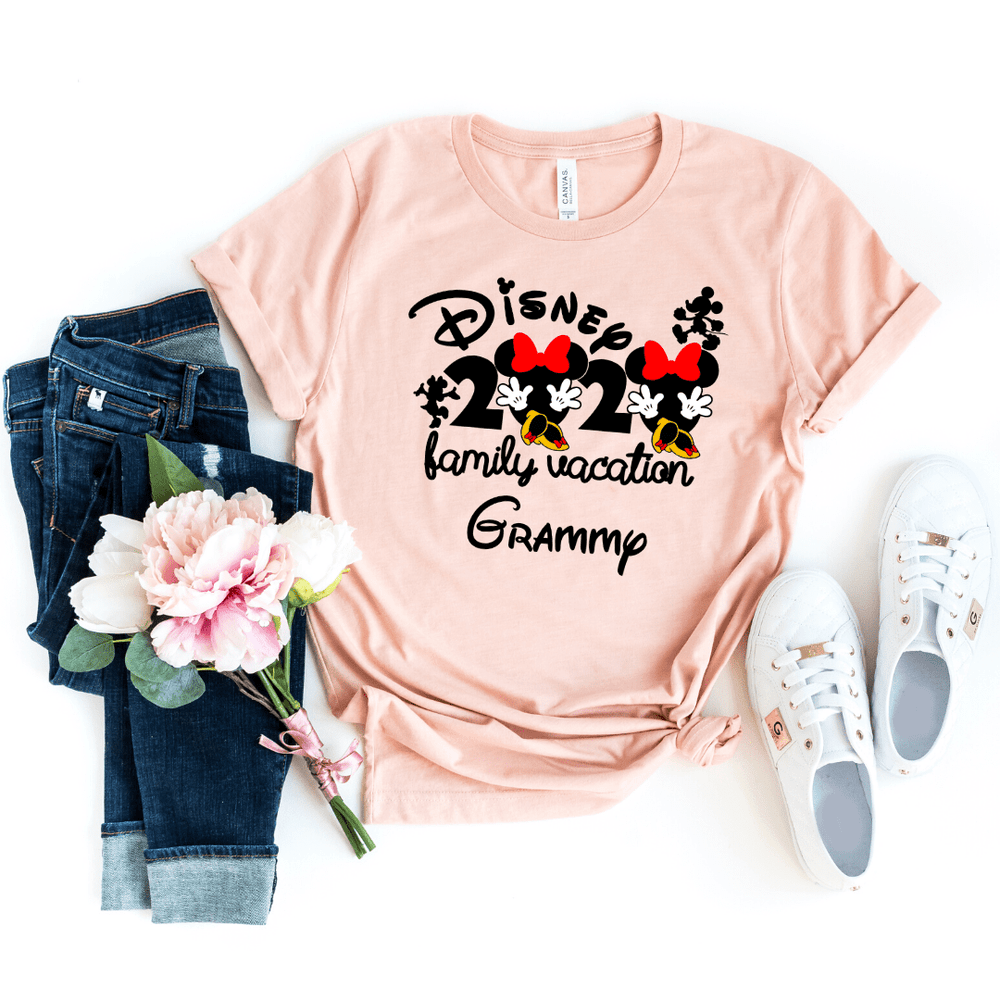 Disney 2020 family Vacation matching shirts, Disney Matching shirts, Disney shirts 2020, Disney Trip shirts with Mickey and Minnie, Heather Peach
