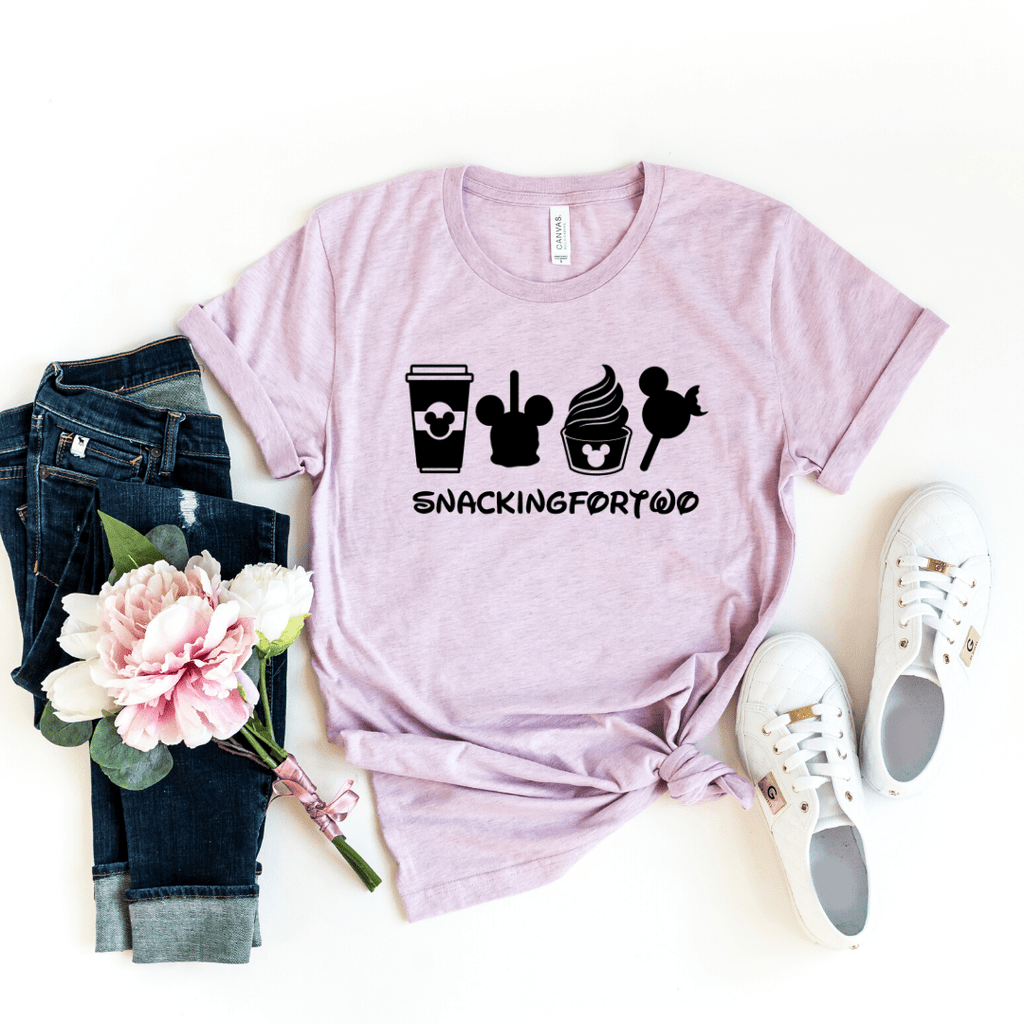Snacking For Two, Shirt,Snack Goals, Disney Shirts, Disney Shirt, Disney World, Disneyland,Disney Vacation,Disney Shirts For Women,Mickey Mouse, Heather Prism Lilac