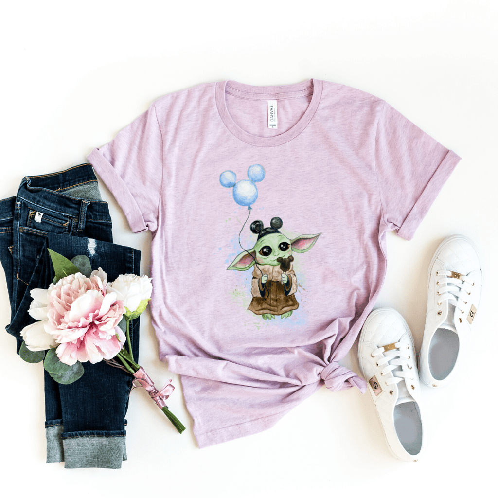 Disney Shirts Star Wars Mandalorian Child, Baby Yoda, Galaxy Edge Shirt, Boba Fett shirt, Heather Prism Lilac