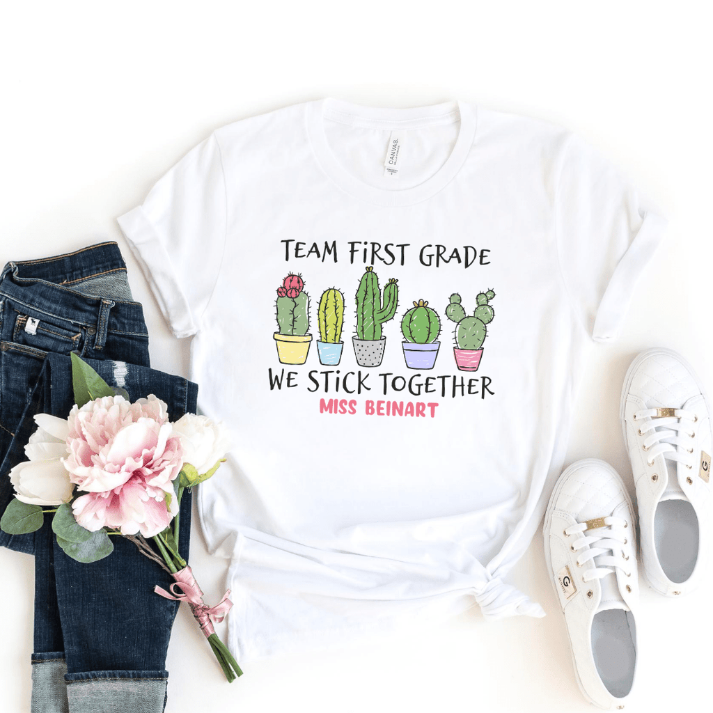 cactus team teacher shirts first  custom grade team shirts for teachers stick together cactus shirt teachers gift