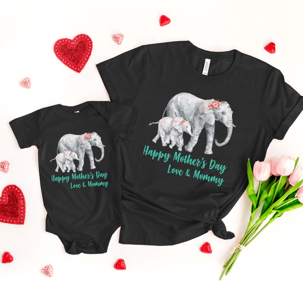 Our First Mothers Day Shirts, Mommy & Me T-Shirts, Matching Mom and Baby Bodysuit, Mother Day Shirt, Baby and Mama Elephant, Mommy and Me Shirt Set Mama Elephant Baby Shirts Mother and Daughter Shirts,  Mothers Day Gift Mommy and Me Outfits, Black