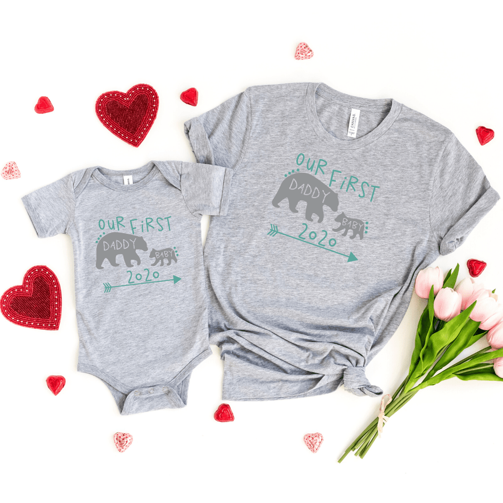 Daddy and Me Shirts Matching Dad Shirts Father Son Shirts Fathers Day Shirts Our First Father's Day Shirts Baby Bodysuit Daddy Baby Bear Shirt, Athletic Heather