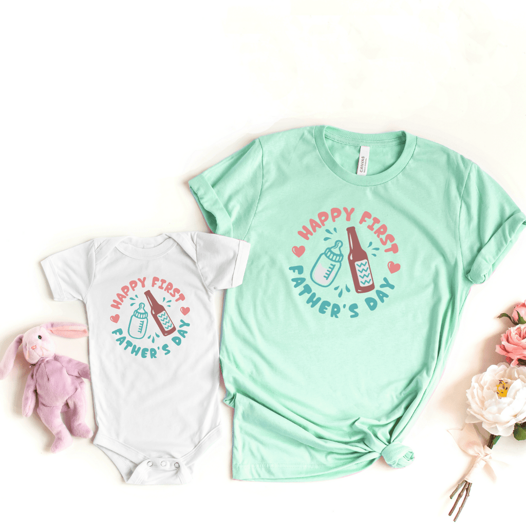 Daddy and Me Shirts Matching Dad Shirts Father Son Shirts Fathers Day Shirts Our First Father's Day Shirts Baby Bodysuit First Fathers Day Tees, Heather Prism Mint