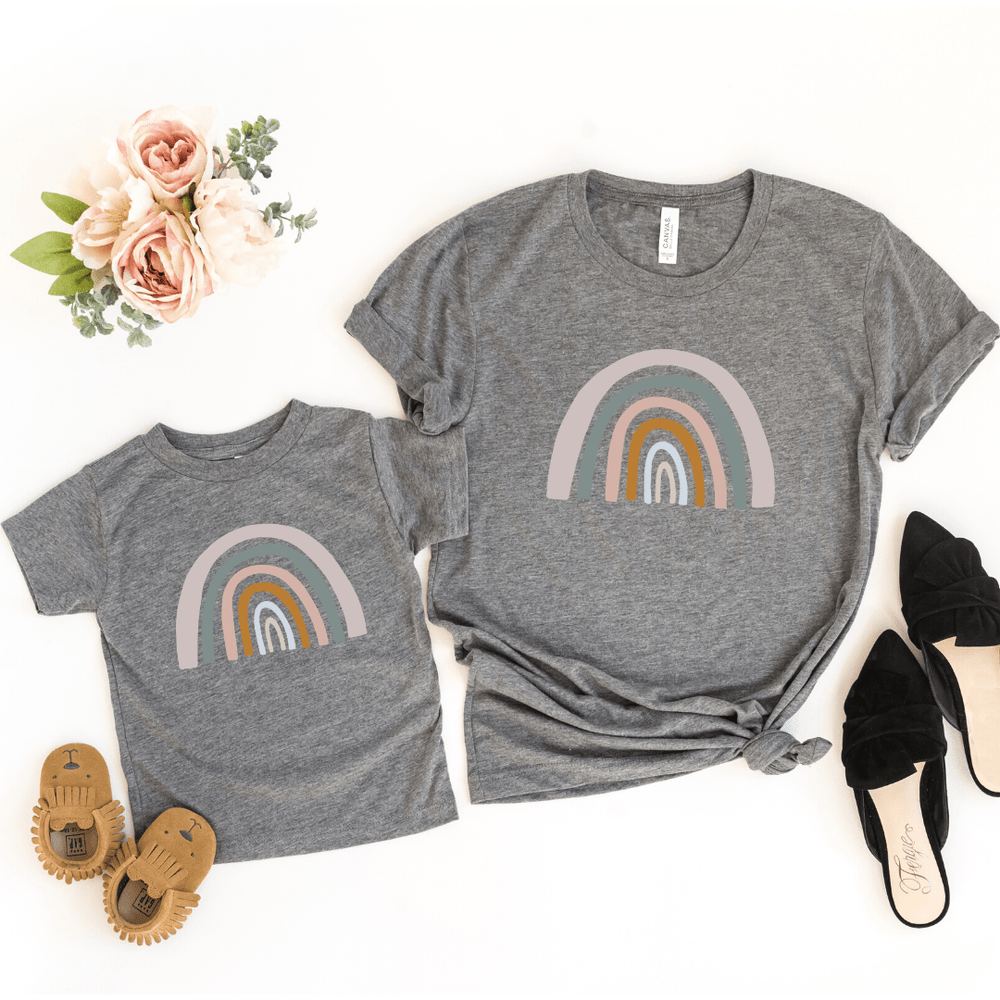 Mommy and Me Rainbow Shirts, Mother Daughter Matching Shirts, Mommy and Me Outfit, Rainbow Toddler Tee, Rainbow Baby Bodysuit, Deep Gray