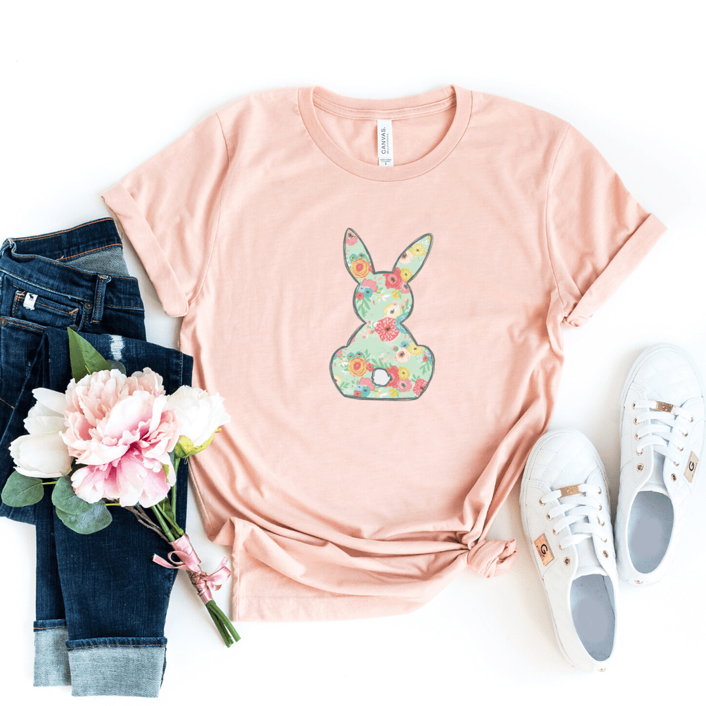 Floral Bunny, Girls Easter Shirt, Easter Shirt, Floral Bunny Shirt, Easter Outfit, Heather Peach