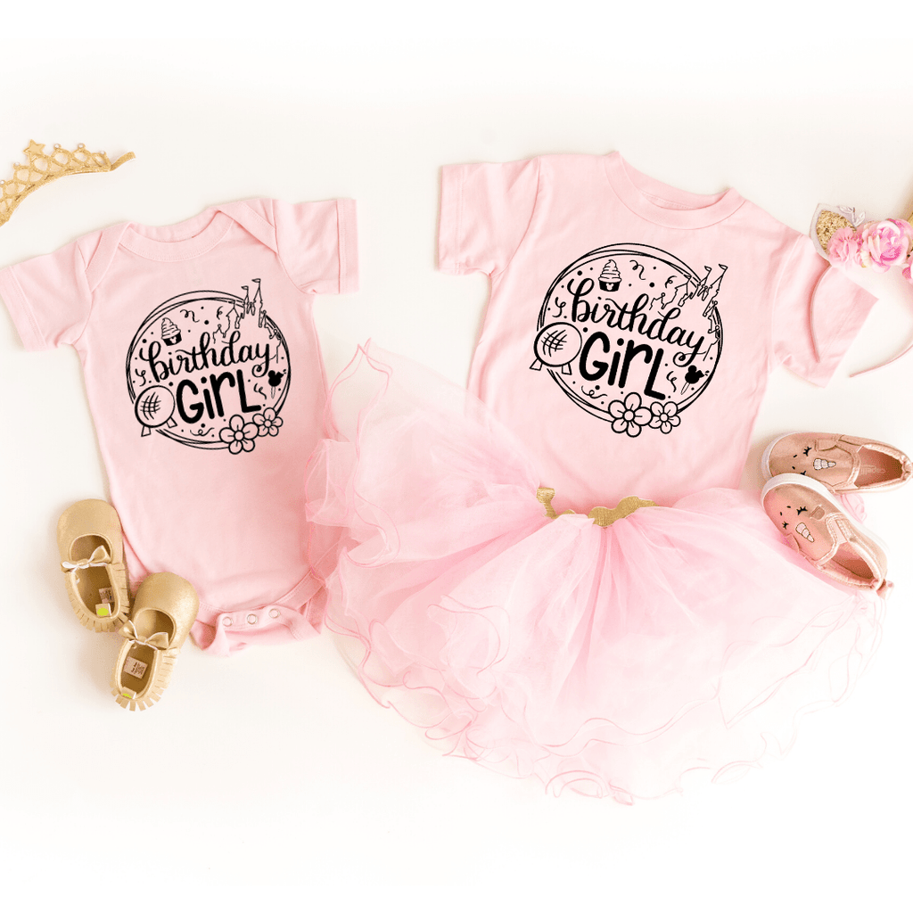 Birthday Girl Disney Shirt, Disney Birthday Shirt, Toddler Shirt & Baby Bodysuit, birthday shirts girl, birthday squad shirts, Pink
