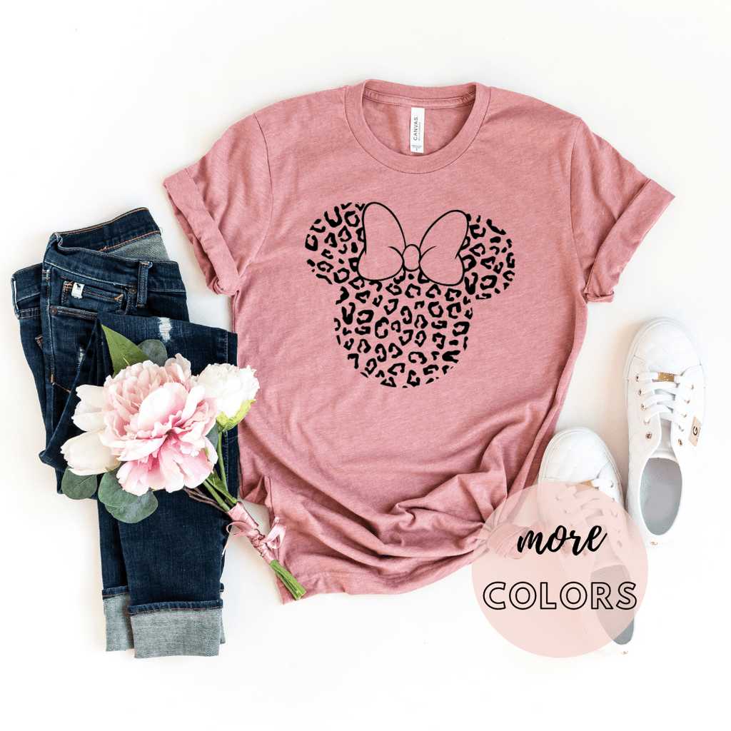 Disney Black Print Leopard Disney Family Shirt Minnie Cheetah Minnie Mickey Animal Kingdom shirt, Safari Disney women's shirt, Disney Style