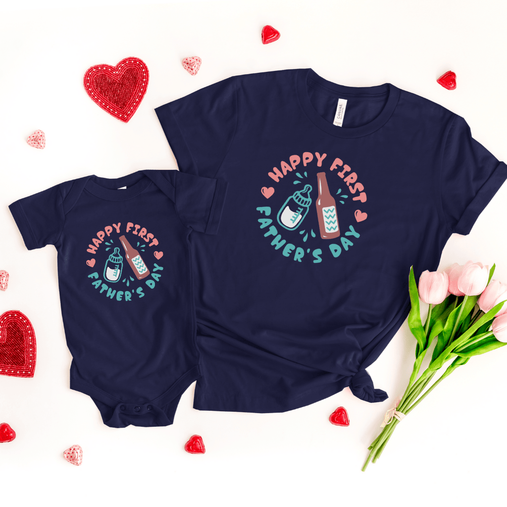 Daddy and Me Shirts Matching Dad Shirts Father Son Shirts Fathers Day Shirts Our First Father's Day Shirts Baby Bodysuit First Fathers Day Tees, Navy