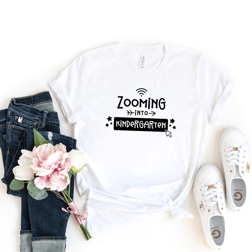 Zooming Into Kindergarten Shirt Social Distance Learning School Shirt First Day Homeschool Shirt Kids Back to Class Quarantine, White
