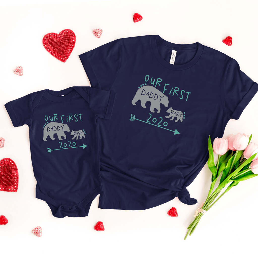 Daddy and Me Shirts Matching Dad Shirts Father Son Shirts Fathers Day Shirts Our First Father's Day Shirts Baby Bodysuit Daddy Baby Bear Shirt, Navy