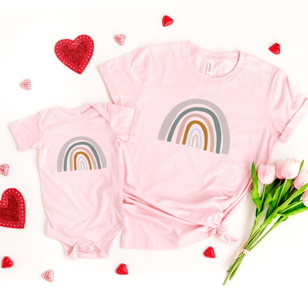 Mommy and Me Rainbow Shirts, Mother Daughter Matching Shirts, Mommy and Me Outfit, Rainbow Toddler Tee, Rainbow Baby Bodysuit, Pink