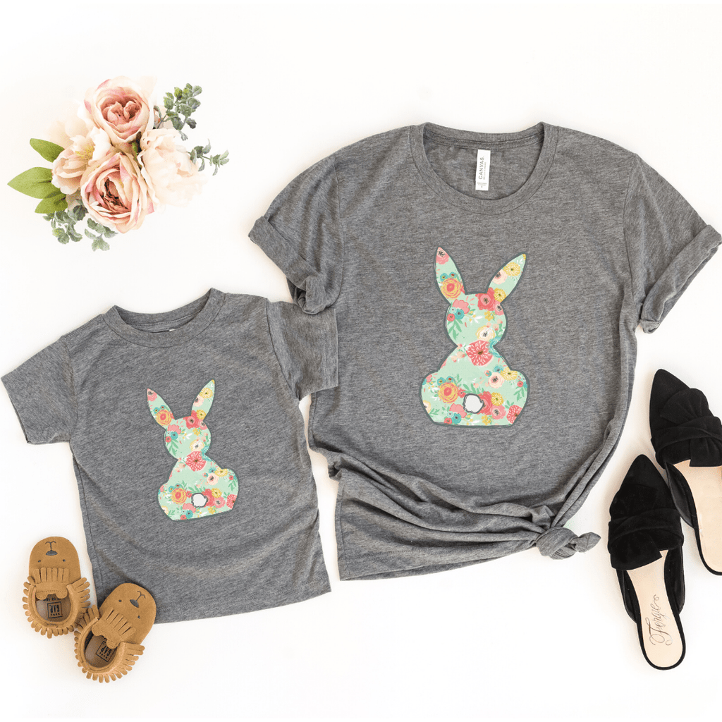 Floral Bunny Matching Shirt Set, Mommy And Me Shirt Set, Easter Shirt, Bunny Shirt, Spring, Mommy and Me, Easter Outfit, Granite Heather