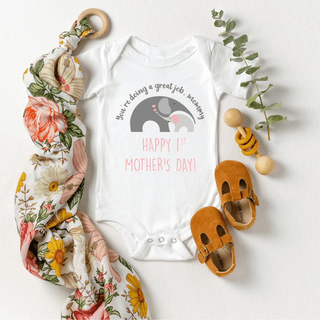 Our First Mother's Day baby bodysuit, Cute Personalized Mother's Day baby bodysuit, Elephant Baby Mother baby bodysuit, Happy Mothers Day baby bodysuit, Best Mama shirt, White