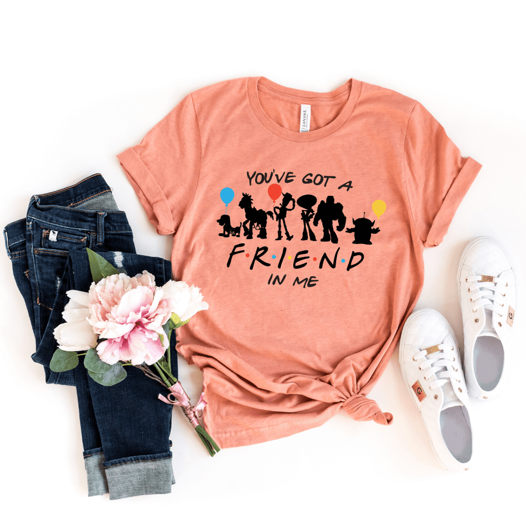 You've got a friend in me Toy Story shirt , Disney Shirt for Women, Disney Family Shirt, Matching T Shirts, Friends Mash up, Heather Prism Sunset