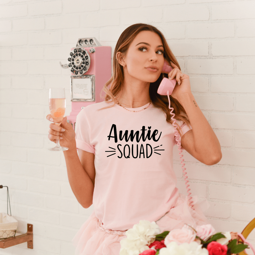 Auntie Squad Shirt, Christmas Gift for Aunt, Aunt To Be Shirt, New Aunt Shirt, Pregnancy Announcement Shirt, Baby Annoucement Shirt, BAE, Pink