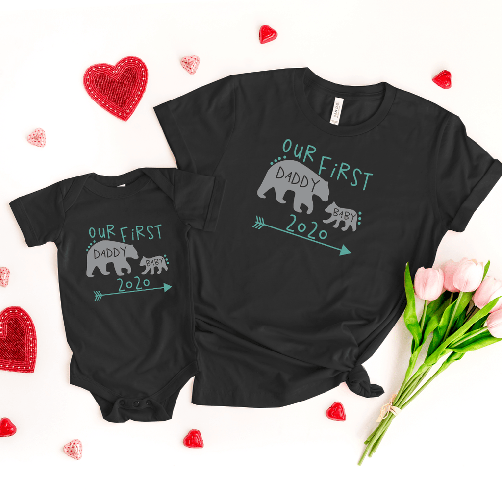 Daddy and Me Shirts Matching Dad Shirts Father Son Shirts Fathers Day Shirts Our First Father's Day Shirts Baby Bodysuit Daddy Baby Bear Shirt, Black