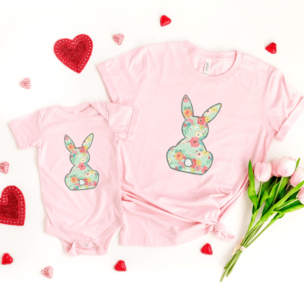 Floral Bunny Matching Shirt Set, Mommy And Me Shirt Set, Easter Shirt, Bunny Shirt, Spring, Mommy and Me, Easter Outfit, Pink