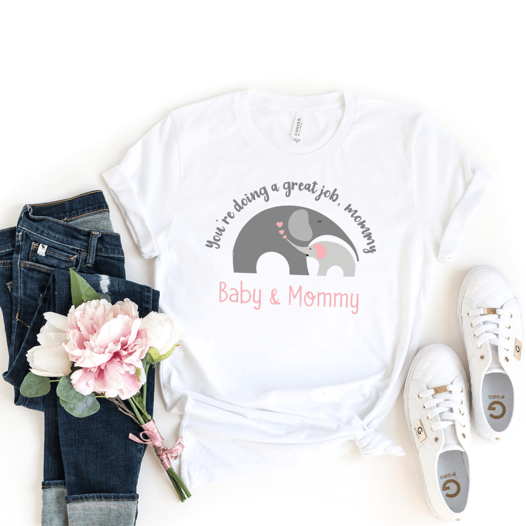 Mommy and Me outfits Mama Baby Cute Shirt Mother's Day Shirt bodysuit Boho Elephant Baby Shirt for Mom and Girl Best Mama shirt