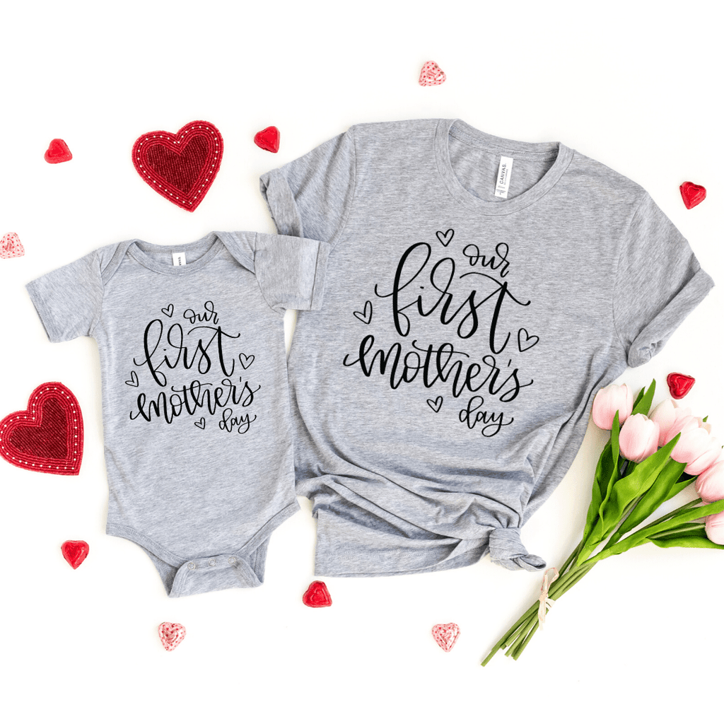 Mother's day gift for wife Mom, Our first mothers day, First mothers day gift, matching mom and baby, family shirts, Mothers day 2020, Heather