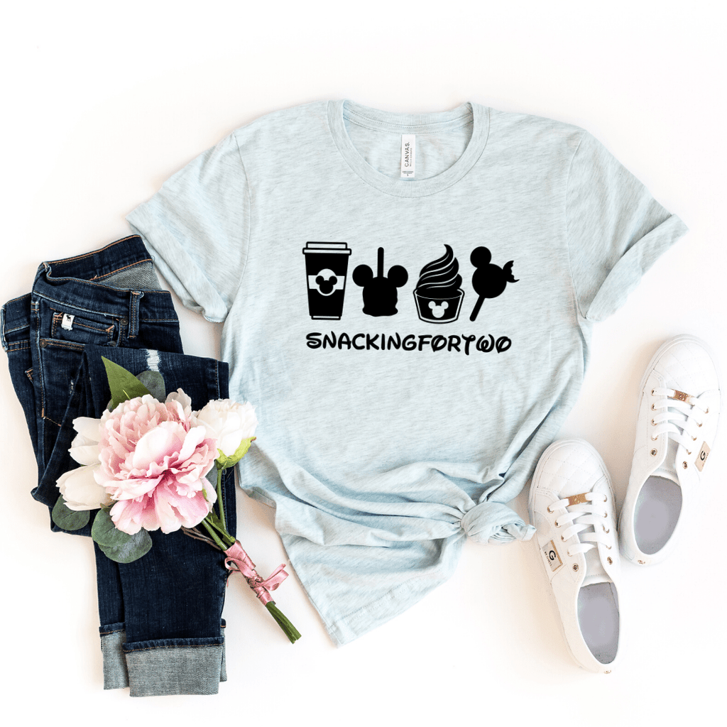 Snacking For Two, Shirt,Snack Goals, Disney Shirts, Disney Shirt, Disney World, Disneyland,Disney Vacation,Disney Shirts For Women,Mickey Mouse, Heather Ice Blue