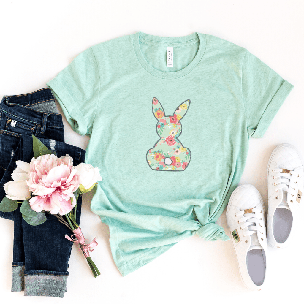 Floral Bunny, Girls Easter Shirt, Easter Shirt, Floral Bunny Shirt, Easter Outfit, Heather Prism Mint