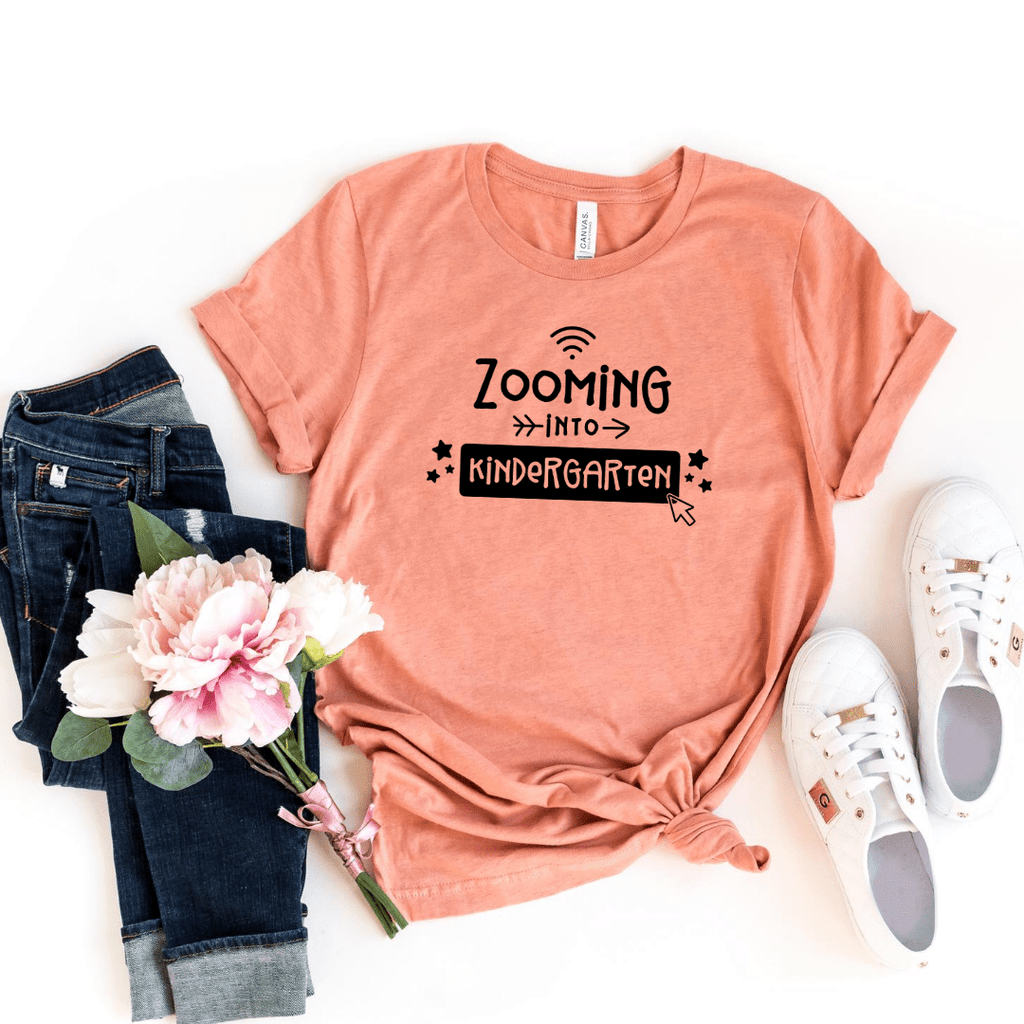 Zooming Into Kindergarten Shirt Social Distance Learning School Shirt First Day Homeschool Shirt Kids Back to Class Quarantine, Heather Prism Sunset